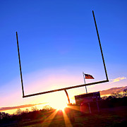 Football Metal Prints - American Football Goal Posts Metal Print by Olivier Le Queinec