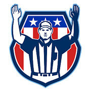 Umpire Art - American Football Official Referee Touchdown by Aloysius Patrimonio