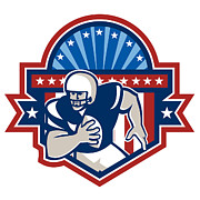 North American Prints - American Football QB Quarterback Crest Print by Aloysius Patrimonio