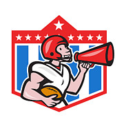 Landmarks Digital Art - American Football Quarterback Bullhorn Cartoon by Aloysius Patrimonio