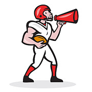 Isolated Digital Art Prints - American Football Quarterback Bullhorn Isolated Cartoon Print by Aloysius Patrimonio