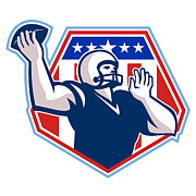 Offensive Posters - American Football Quarterback Shield Poster by Aloysius Patrimonio