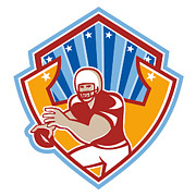 North American Prints - American Football Quarterback Star Shield Print by Aloysius Patrimonio