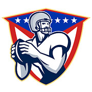 American Stars And Stripes Posters - American Football Quarterback Throw Ball Poster by Aloysius Patrimonio