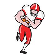 American Football Running Back Ball Cartoon Print by Aloysius Patrimonio