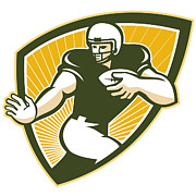 North American Posters - American Football Running Back Shield Poster by Aloysius Patrimonio