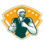 North American Prints - American Football Runningback Crest Print by Aloysius Patrimonio