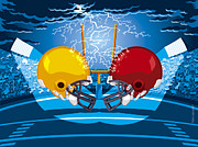 Spectator Digital Art Prints - American Football Stadium Helmet Lightning Print by Frank Ramspott