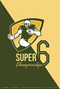 Ball Digital Art - American Football Super 6 Championship Poster  by Aloysius Patrimonio
