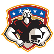 American Posters - American Football Tackle Linebacker Helmet Shield Poster by Aloysius Patrimonio