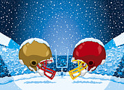 Spectator Digital Art Prints - American Football Winter Snow Helmet Stadium Print by Frank Ramspott