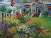 Patriotic Pastels Framed Prints - American Garden Framed Print by Sharon Will