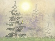 Mountain Cabin Digital Art Framed Prints - American Goldfinch Morning Mist  Framed Print by David Dehner