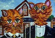 Pet Painting Prints - American Gothic Cats - A Parody Print by Eloise Schneider