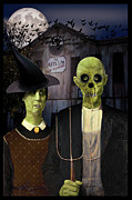 The Haunted House Mixed Media Posters - American Gothic Halloween Poster by Gravityx Designs