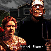 Haunted Houses Posters - American Gothic Resurrection Home Sweet Home 20130715 square Poster by Wingsdomain Art and Photography