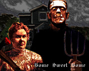 Frankenstein Posters - American Gothic Resurrection Home Sweet Home 20130715 Poster by Wingsdomain Art and Photography