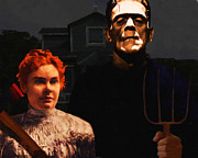 Frankenstein Digital Art - American Gothic Resurrection - Version 1 by Wingsdomain Art and Photography