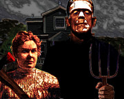 Frankenstein Posters - American Gothic Resurrection - Version 2 Poster by Wingsdomain Art and Photography