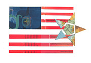 Typography Map Mixed Media - American Graphic Flag by Christina Knapp