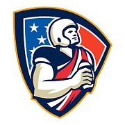 Ball Digital Art - American Gridiron Quarterback Ball Crest by Aloysius Patrimonio