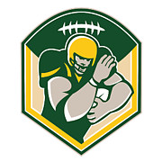 Football Digital Art - American Gridiron Running Back Fending Crest by Aloysius Patrimonio