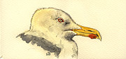 Nature Study Painting Posters - American herring gull Poster by Juan  Bosco