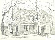 Exterior Drawings Framed Prints - American Home II Framed Print by Kip DeVore