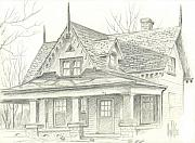 Old House Drawings - American Home by Kip DeVore