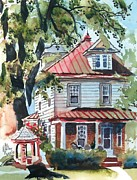 Abode Prints - American Home with Childrens Gazebo Print by Kip DeVore