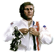 Legend Drawings Originals - American Icon  Steve McQueen by Iconic Images Art Gallery David Pucciarelli