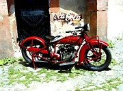 Motorcycle Drawings - American Indian  Indian Motorcycle  by Iconic Images Art Gallery David Pucciarelli