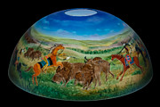 Painted Glass Art - American Indian plains art by Mikael  Darni