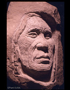 Quilcene Sculpture Posters - American-Indian-Portrait-1 Poster by Gordon Punt