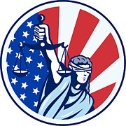 Blindfold Prints - American Lady Holding Scales of Justice Flag retro Print by Aloysius Patrimonio