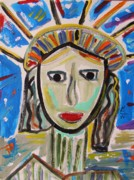 Primitive Drawings - American Lady by Mary Carol Williams