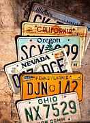 Oregon Illinois Framed Prints - American License Plates Framed Print by Larry Butterworth