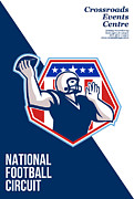 Ball Digital Art - American National Football Circuit Poster  by Aloysius Patrimonio