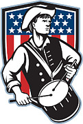 American Patriot Prints - American Patriot Drummer With Flag Print by Aloysius Patrimonio