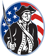 Patriot Posters - American Patriot Minuteman With Bayonet Rifle And Flag Poster by Aloysius Patrimonio