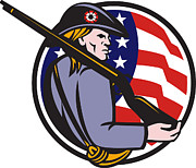 American Patriot Art - American Patriot Minuteman With Rifle And Flag by Aloysius Patrimonio