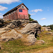 Old Barns Posters - American Patriot Square Poster by Bill  Wakeley