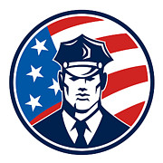 Officer Digital Art Prints - American Policeman Security Guard Retro Print by Aloysius Patrimonio