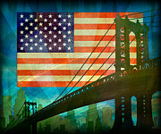 Usa Flag Mixed Media Metal Prints - American Pride Metal Print by Bedros Awak