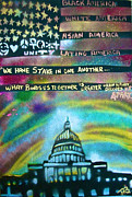 Free Speech Painting Metal Prints - American Rainbow Metal Print by Tony B Conscious