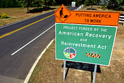 Paving Prints - American Recovery and Reinvestment Act Road Sign Print by Olivier Le Queinec