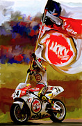 Motorcycle Racing Art Framed Prints - American Revolution I Kevin Schwantz Framed Print by Iconic Images Art Gallery David Pucciarelli