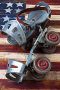 Antique Skates Prints - American roller skates Print by Garry Gay