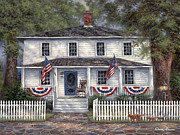 American Flag Painting Originals - American Roots by Chuck Pinson