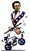 David Drawings Metal Prints - American Roulette  Evel Knievel Metal Print by Iconic Images Art Gallery David Pucciarelli